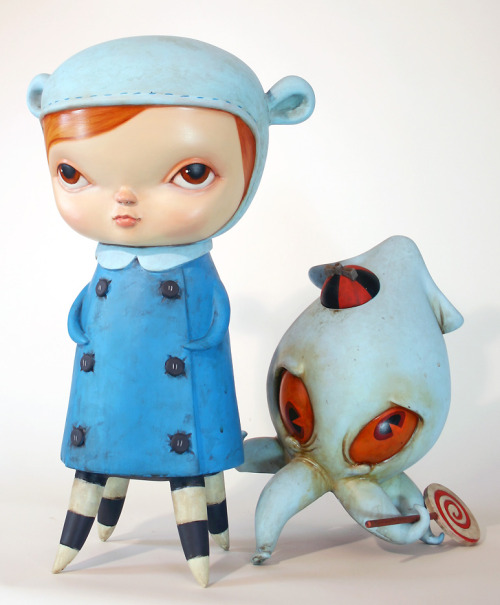 More cephalopods should be gifted with spiral lollies. Meet Lizzie & Junior Blue, an awesome pair of sculptures created by Kathie Olivas as part of her awesome, ongoing series entitled Misery Children. These betentacled friends were part of the Conjoined in 3-D group exhibition, which took place back in January 2011 at the Copro Gallery in Santa Monica, CA, curated by artist Chet Zar. [via Hi-Fructose]
