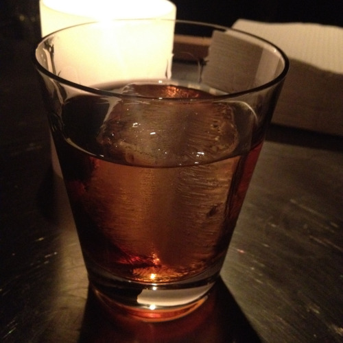 snackish:  McKittrick old fashioned - bourbon, sherry, and chocolate bitters Stopped by the new, no-secret-phone number-required Milk & Honey on 23rd Street today. Just like the times I visited the old locale on Eldridge Street, I discovered a new recipe I'd like to recreate. Aside from a strange looking-over at the door (pardon my scruffiness, sir), it was a chill evening. But with places like this charging $16 per drink, methinks it's time to start flexing the cocktail shaking muscles and testing recipes for springtime rooftop imbibing. This one will make a fantastic nightcap.