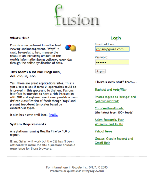 Fusion, the internal Google project that would become Google Reader, as Om Malik highlights in his talk with creator Chris Wetherell.
