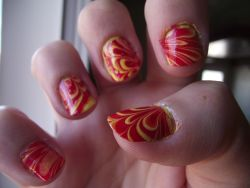 Original Poster Says: My very first water marble… did it a while ago, before learning about cleanup and cuticle care! - Imgur
