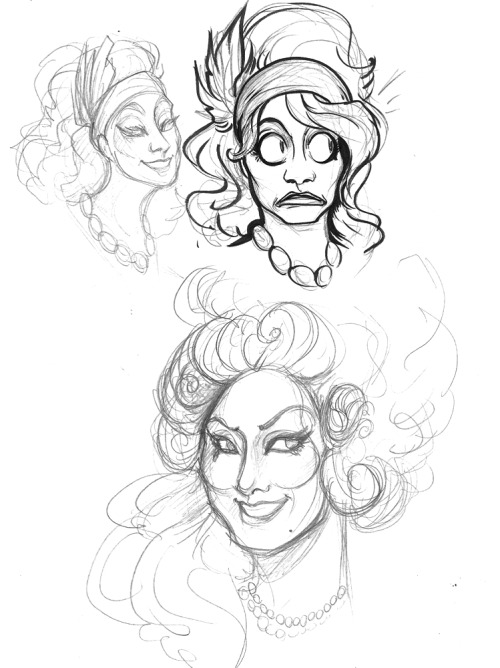 Sketches of Jinkx Monsoon from RPDR S5E1 and E3. Trying to figure out how to stylize her face, but also that expression. Her eyes and mouth, you guys, are so much fun to draw. :')