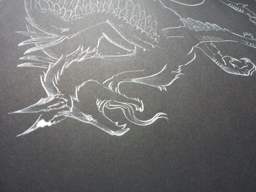 Back to the roots. Didn't draw a dragon for a really long time. And i kind of missed it :3 this is white ink on black paper