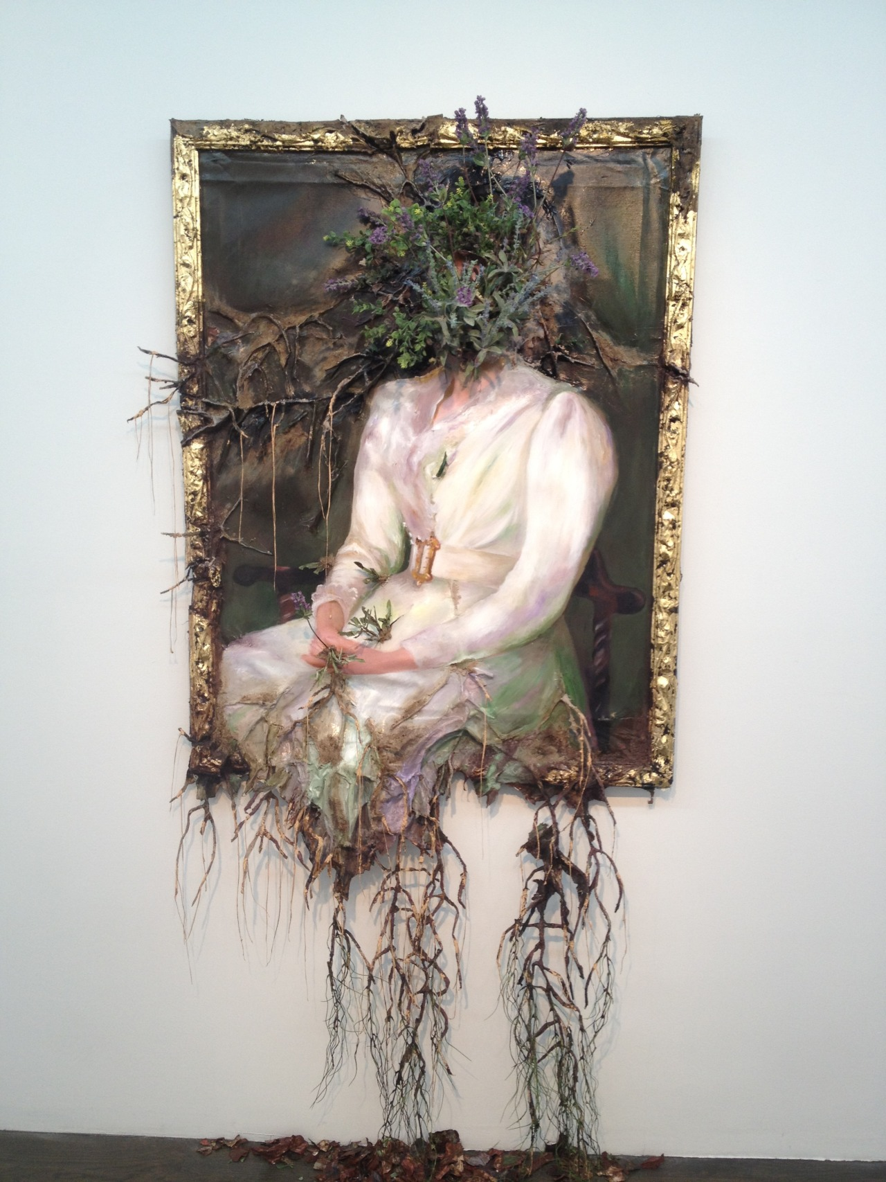 Valerie Hegarty, 'Woman in White with Flowers', 2012 canvas, stretcher, acrylics, paper, glue, foil, foam, wire, artificial foliage, sand, thread  (via 2headedsnake)