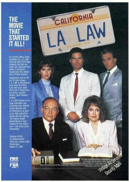 "L.A. Law - poster ad for the original ""Pilot"" movie"