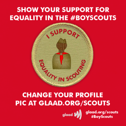 GLAAD staff is on the ground with gay Scouts and leaders in Texas this week in anticipation for tomorrow's Boy Scouts of America vote on whether to change its policy and embrace equality. Follow our live blog and show your support for equality by changing your Facebook and Twitter pics at http://glaad.org/scouts