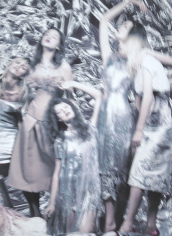 deprincessed:  A group of ghostly models (including Anais Pouliot and Kelly Mittendorf) all wearing Giles S/S 2012 in the editorial 'Cold Summer' shot by the magical Solve Sundsbo for LOVE S/S 2012