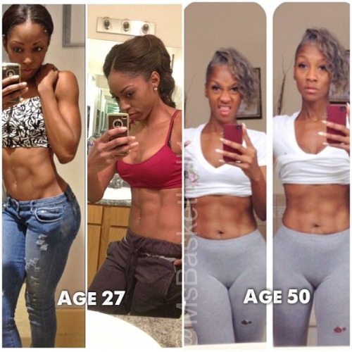 fit-black-girls:    I had to do a side by side pic!!!! Mannnn this lady is KILLING ME!!! I hope I look as good as her when I'm in my 50's!!! Her body is KILLING half of these women that are dragging around!!! #salute *heads to the gym #motivation #abs #fitness #cougarstatus http://instagram.com/p/Yu570BDq-K/