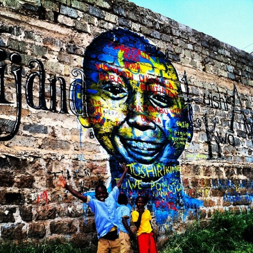 Kibera Walls for Peace: Nairobi, Kenya. This latest piece advocates for the youth's role in uplifting their community. This is especially important during this election season, as last time politicians used teenagers as pawns, paying them to riot and fight rival ethnic communities.