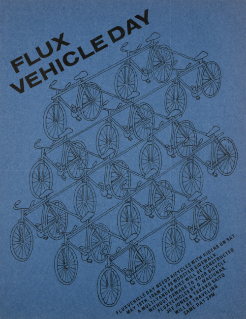 "walkerartcenter:  A poster for Flux Vehicle Day, May 19, 1973, featuring George Maciunas' design for the Multicycle, a ""multi-tandem-bike."""