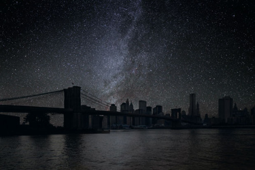 sosuperawesome:  Photographer Imagines What World Cities Would Look Like Without Lights French photographer Thierry Cohen wants to show you what the cities might look like if they went dark on a clear day, and if the photographer focused on bringing out the stars. His project Darkened Cities shows recognizable cityscapes in darkness under the night sky. To create the images, Cohen first traveled to locations that are untainted by the light pollution of large urban areas, capturing beautiful night shots of the Milky Way floating overhead. He then combined these photographs with manipulated photographs of various cities (e.g. San Francisco, New York City, Tokyo, Rio de Janerio) to complete the effect.