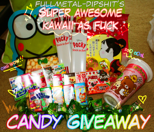 -fadetogray:  fullmetal-dipshit: hell yeah who doesn't want candy??? includes: -Lotte Ume Plum Candy-15 assorted candy samplers-Chinese Guava Candy-3 Packs of Pocky-Rilakkuma Strawberry Candy-Kawaii cookies (the frog)-i'll even throw in some caplico sticks rules: 1. must be following me. it's for my followers. so. yeah.2. unlimited reblogs/likes3. in the united states (unless you are willing to pay for international shipping!!) Ends June 11th at 1PM EST Good luck!!