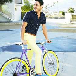 Josh in yellow Travel Jeans and our Mad Splatter poplin shirt.