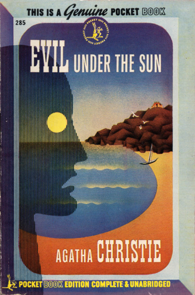 Evil Under the Sun (1945); A Hercule Poirot Mystery by Agatha Christie(US: Pocket, 1945) #285, stated 1st printing, paperbackCover art by H. Lawrence Hoffman