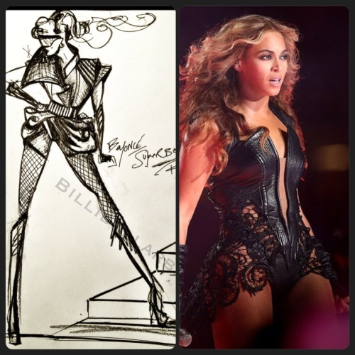 "billidollarbaby:  Celeb Style: Beyonce in @RubinSinger at the SuperBowl Pepsi Halftime Show at Super Bowl XLVII Beyonce performed at the Super Bowl's Pepsi Halftime Show wearing a Rubin Singer Leather/Liquid Nylon Costume.  This piece is from the Fall/Winter 2013 Collection entitled ""Valkyrie's Dominion,"" actually took about 200 man hours with a team of 14 people to make.  Here's a sketch of the design:"