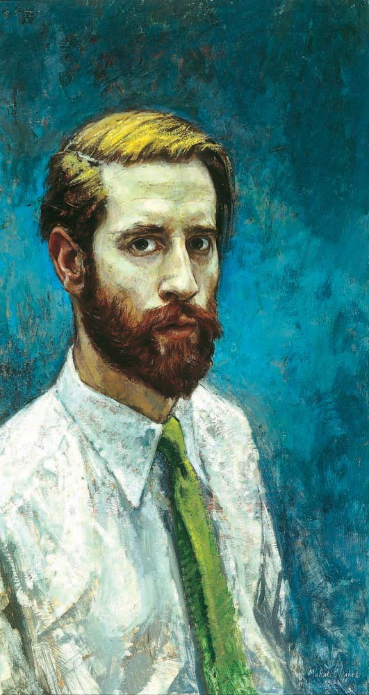 blastedheath:  Michael Noakes (English, b. 1933), Self Portrait with Beard, 1958. Oil on board, 72 x 37.5 cm. The Ruth Borchard Collection.