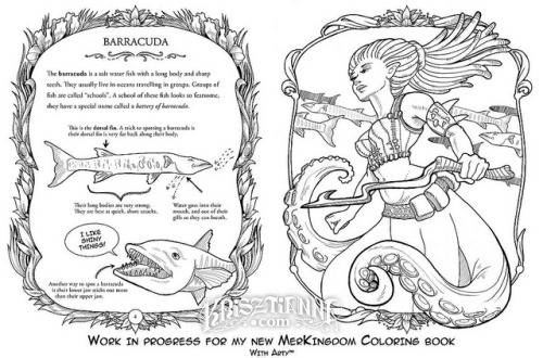 Merkingdom Progress 01 on Flickr.This barracuda spread is to show you guys what I'm making! The info page on the left, and a mermaid on the right. Lots of pages to do still, but moving along!