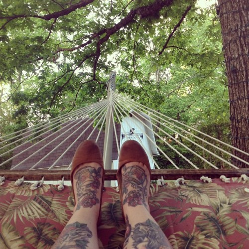 "The ""legs in hammock"" photo is my new ""legs in bathtub"" photo. #bloggercliches #imneverleavingthishammock #nobutreally"