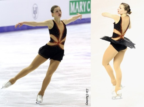 Monika Simancikova's short program costume at the 2013 European and World Championships. Her music was Tango de Amor from The Addams Family. Sources: 1 and 2.