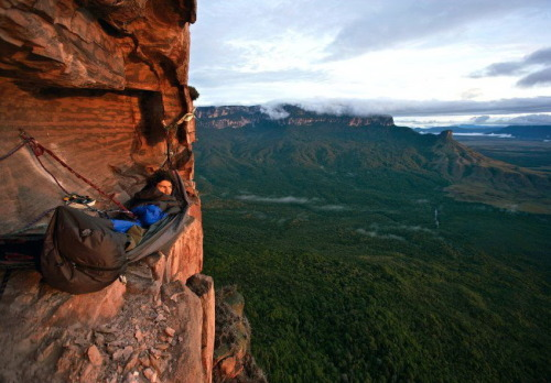 bluepueblo:  Cliff Camping, Acopan Tepui, Venezuela photo via besttravelphotos
