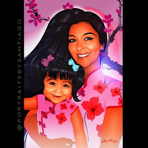 """Mother & Daughter"" portrait commission of Francisca @franan74 and Miya. Long time fan, friend, & best customer @midniteink commissioned me to create a portrait of her daughter and granddaughter as a surprise gift. Both are mixed heritage of Puerto Rican and Japanese. She requested cherry blossoms with an asian influenced blouse complete with ""frog clasps"". Here is the result.  All inquiries to :portraitsbysantiago@gmail.com   #MotherDaughter #CherryBlossoms #Japanese #PuertoRican #Latina #illustration"