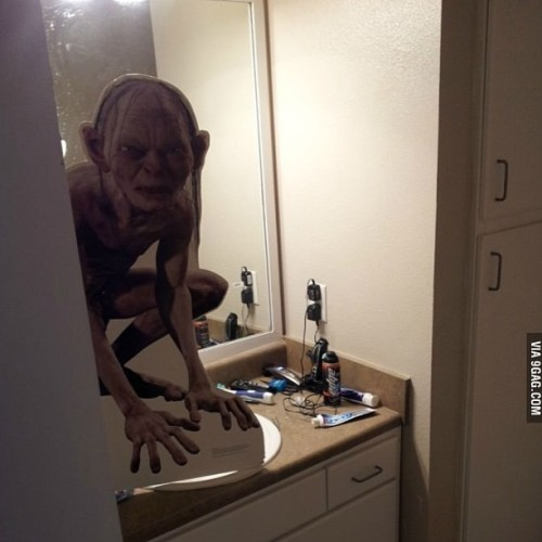Half asleep, opened the bathroom door  Smeagol for the last time!! Thats just my vaginal contraceptive ring it only makes babies disappear.