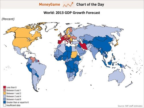 mapsontheweb:  2013 IMF world GDP growth forecast  The crisis in Europe still goes on and on and on…