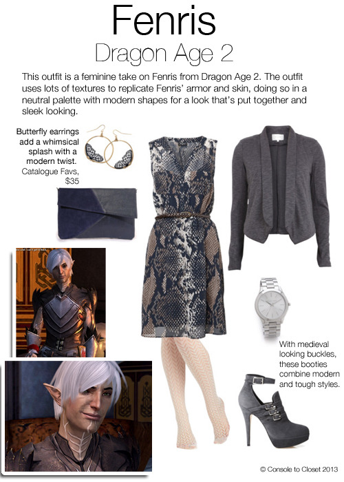 Inspired by Fenris from Dragon Age 2 Dress: Jeans West - Snake Print Dress, $60 / Jacket: Villa - Bevin Blazer, $57 / Tights: ModCloth - High Dramaturge Tights, $12 / Shoes: Abel Munoz - Alessandra, $325 / Clutch: Rare London - Brushed Suedette Contrast Clutch, $22 / Watch: Shopbob - Michael Kors Silver Slim Runway Watch, $160 / Earrings: Catalogue Favorites - Butterfly Hoop Earrings, $35