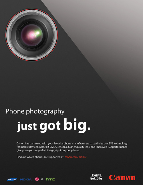 Print ad for the [fictional] Canon EOS Mobile system. Details in the post!