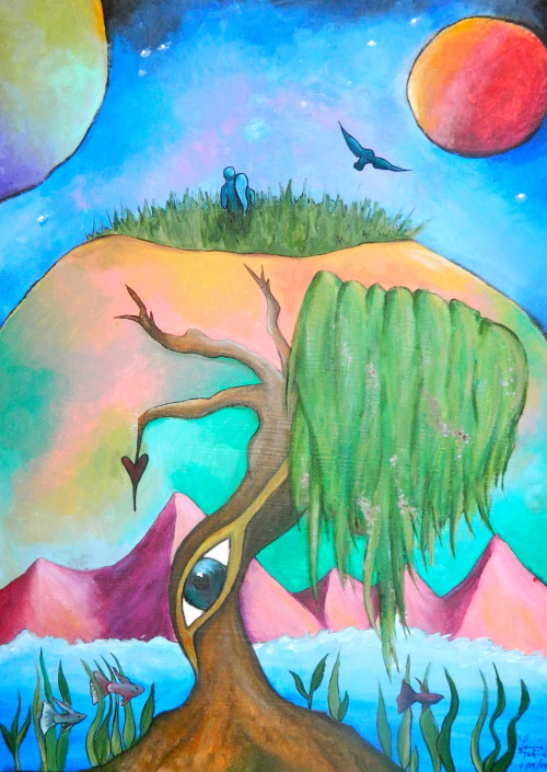 "Painted by me inspired by Modest Mouse's song, ""3rd Planet"""