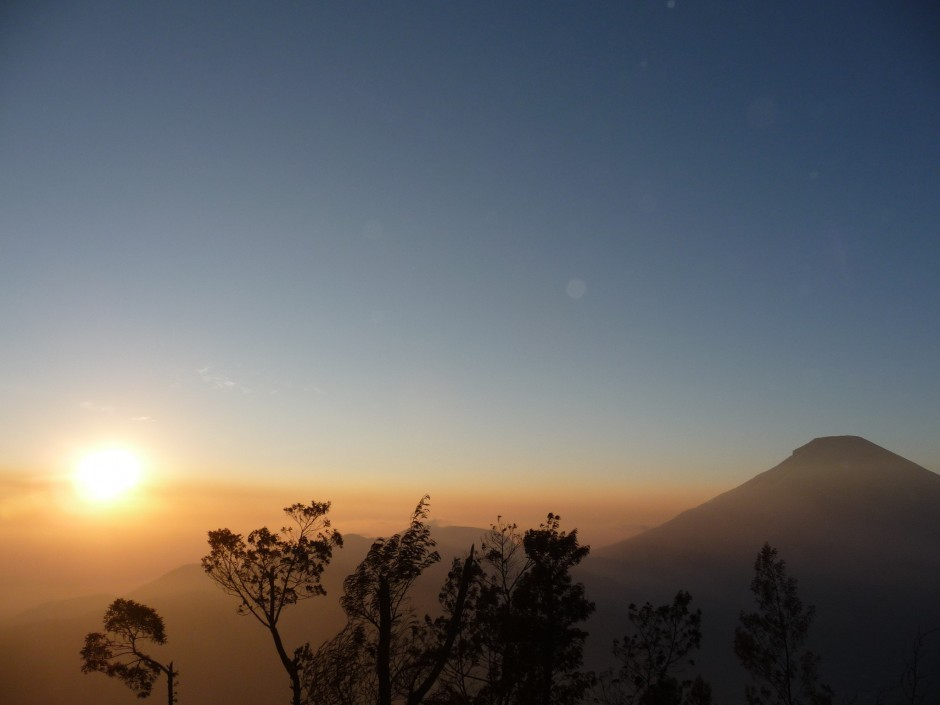A golden sunrise above Sikunir Hill in Central Java, Indonesia. Photo by Theresia, Matador member.