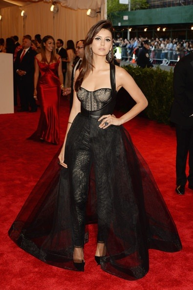 Nina Dobrev in Monique Lhuillier Best Dressed at the Red Carpet of Costume Institute Gala for the 'PUNK: Chaos to Couture' exhibition at the Metropolitan Museum of Art 2013. May 7th, 2013 8:46  P.M. GMT.