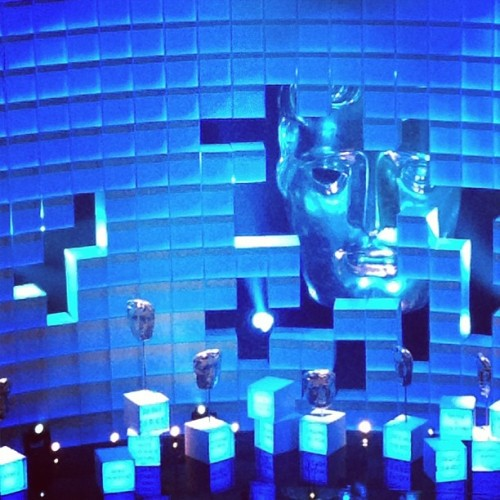Bafta stage is blue an sparkly!
