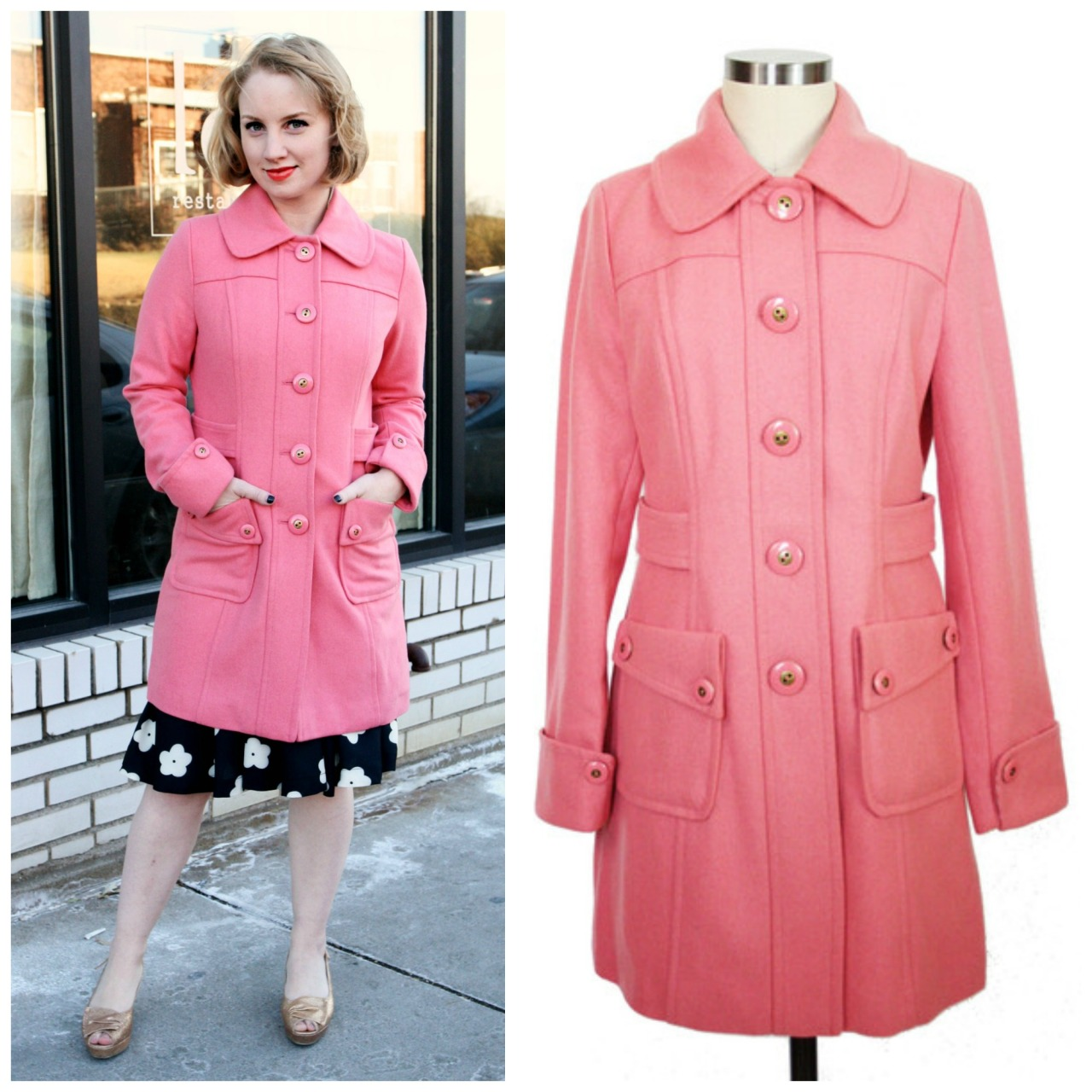 Here's our cofounder Meg today in our Pink Lady coat over our Strike a Posey skirt and Brook Heels! It's getting chilly outside and our wool-blend coat in this beautiful blush hue with soft satiny lining is just what the weatherman ordered. Coat: http://helloholiday.com/collections/allclothing/products/pink-lady-coatSkirt: http://helloholiday.com/collections/allclothing/products/strike-a-posey-skirtShoes: http://helloholiday.com/collections/shoes/products/brook-heels