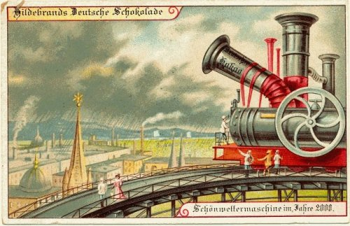 "weirdvintage:  ""Weather control machine—A postcard circa 1900 of their expectations of life in the year 2000 (via Retronaut)  Science needs to make this happen."