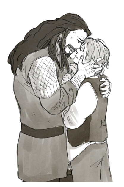 thorinsexenshield:  kaciart:   slashluvr answered: Maybe a prompt where Bilbo hears Thorin say he loves him for the first time? I've been loving the prompts so far! Can't wait to see more!  'I love you Bilbo Baggins— when I hired you on this quest as our burglar, never once did I expect that you would also steal my heart along our journey' Hydeco wanted a follow up to the previous pic  GAH  THIS SHIP^^^^^