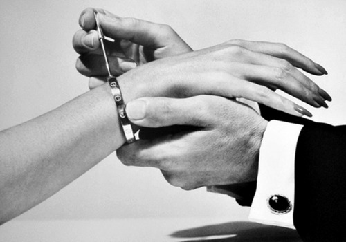 "kaliforniaklique:  simple-l-o-v-e:  pleadingly:  Cartier Love bracelet ""Unlike traditional bracelets, which are either wide enough to slip them over the hand onto the wrist or can readily be opened in order to put them on, the Love bracelet is designed to be opened only using a special screwdriver that is supplied with every bracelet. The screwdriver is also available in the form of a necklace, allowing the bracelet to be ""locked"" onto one person while the ""key"" is kept around the neck of another as a symbol for their commitment to their relationship.""  Can I please have this  I feel so blessed that i have one."