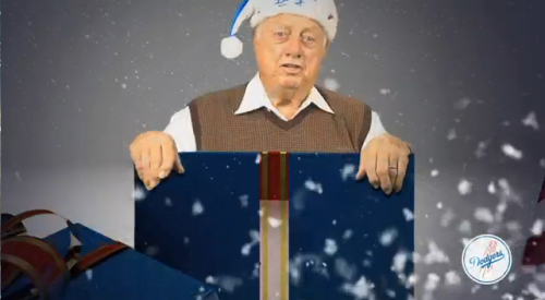 oldtimefamilybaseball:  The holiday videos are coming and what better way to start them off than with Tommy Lasorda singing in a box?  Sure, there's about 2 minutes of Dodgers altruism in between, but the real highlight bookends it: Tommy Lasorda, singing, in a box.  Watch it here.