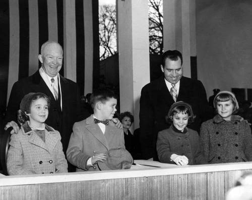 "Inaugural Love When President Dwight D. Eisenhower and Vice President Richard Nixon were inaugurated in 1957, photographers captured an image of them on the Inaugural Parade viewing stand with the President's grandchildren, Anne and David Eisenhower, and the VP's daughters, Julie and Tricia Nixon. David Eisenhower and Julie Nixon Eisenhower are now married, and in the most recent book that they co-authored, they recall that the event may have been the start of their lifelong romance.  David Eisenhower writes in ""Going Home to Glory"" that in one version of ""the resulting photograph, I am staring intently at Julie and she is looking at me."" -from the Eisenhower Library"