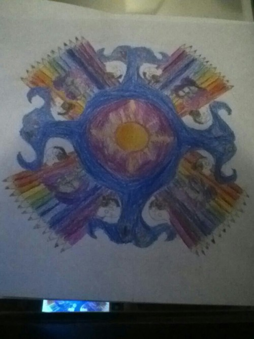 we had to do personal mandalas in art class.  mine is gonna be a day late since i,was sick though. if you look closely, you can see monobear and the sburb logo