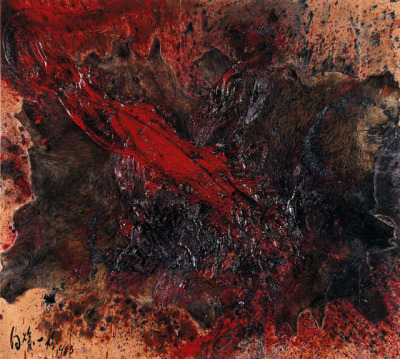 Kazuo Shiraga Wild Boar Hunting II (1963)Oil and boar hide on board, with bullet casings.73 x 80 3/4 inches / 183 x 204 cmHyogo Prefectural Museum, Kobe  Saw this at the Guggenheim, NY, in the exhibition Gutai: Splendid Playground.