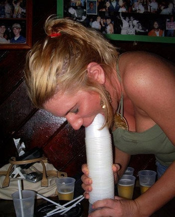 funnyordie:  1 Girl, 2 Many Cups   Lol