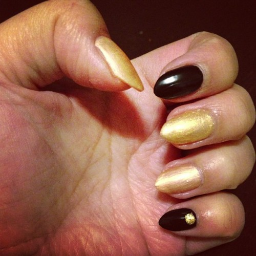 black and gold #nails #nailpolish #nailsdid #Chanel #blackvelvet #blacksatin #goldfingers #goldlame #essie #matteaboutyou