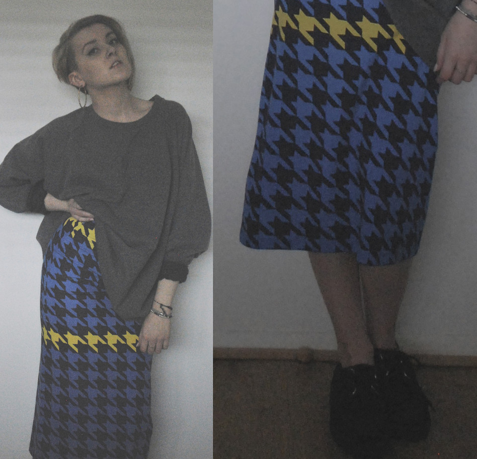 Favourite Skirt (by Kate Dewdney)#houseofholland #tubeskirt #oversizedjumper #oversized #dogtooth