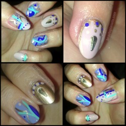 New abstract nails for the weekend. Aquadelic, Butler Please, Fade Into Hue, 2030
