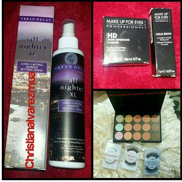 All of my fave things!!! From @christianalvarezmua giveaway!! Follow, tag/hashtag and repost! #christianalvarezmua  #lashes #urbandecay #mufe #aquabrow #makeup #etc #contest #giveaway
