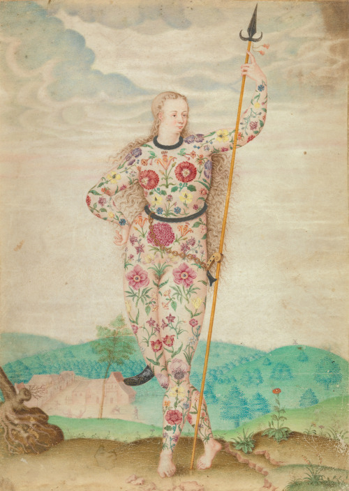 hauntedranch:  A Young Daughter of the Picts, c. 1585. Attributed to Jacques Le Moyne de Morgues. Watercolour and gouache touched with gold.  Style of 16th century proto-ethnographic drawing, similar to how you'd see Native Americans depicted at the time: Classical in form and stature, with exotic (often 'barbaric') details. Also GORGEOUS GORGEOUS tattoos.