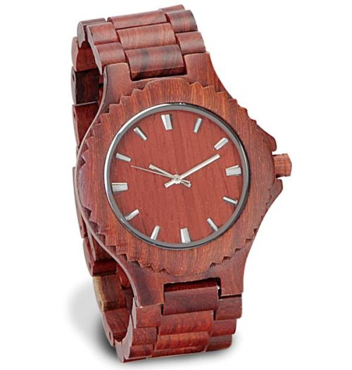 (via The Automata Blog: Sandalwood wrist watch made from 50 hand-cut pieces)   …hand-cut sandalwood does make up the the band's links, bezel, crown, case, and case back. Nearly everything you can actually see is made of real wood. Despite the fact that you can buy one of these for yourself for $139.95, no two are alike…  The Gentleman's Sandalwood Watch.