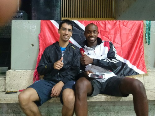 Me and my teammate. Aka #1 and #2 from the national badminton championships of Trinidad and Tobago. He's #1 though I lost to him in the finals.