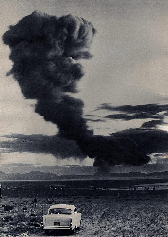 fuckyeahvintage-retro:  A cloud from an A-Bomb test at Yucca Flats, Nevada (1957) © Dave Cicero