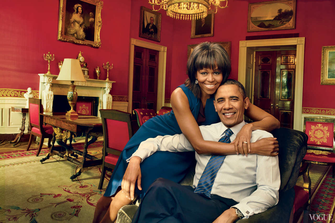 "vogue:  ""We're a team,"" says President Barack Obama, photographed with First Lady Michelle Obama, who wears a Reed Krakoff dress, in the Red Room of the White House. Kimberly McDonald geode-and-diamond drop earrings. Photographed by Annie Leibovitz See the slideshow"